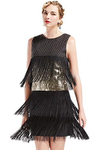 ArtiDeco 1920s Charleston Kleid Damen Knielang Cocotail Party Kleid 20er Jahre Flapper Damen Gatsby Kostüm Kleid (Schwarz Gold, L) (Great Gatsby Tanz Kostüme)