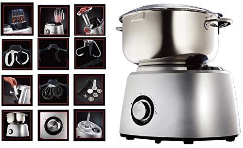 DMS® 6 Liter Küchenmaschine mit 1800 Watt gebürstete Edelstahl-Rührschüssel Metallantrieb Knetmaschine Blender, Mühle, Fleischwolf Rührmaschine mit Pulse-Funktion und Spritzschutz KMT-1800S