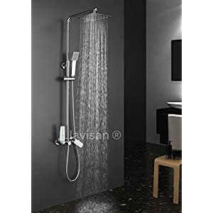 Columna de ducha monomando cuadrada modelo DUA con repisa integrada, tubo redondo extensible regulable en altura de 80 a 120 cm. Ducha mano hidromasaje y rociador cuadrados. Recambios garantizados