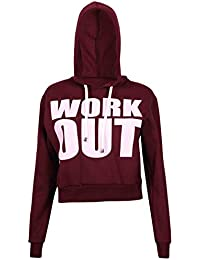 Womens Work Out Printed Ladies Stretch Full Long Sleeve Hoody Sweatshirt Track Cropped Top