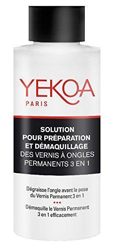 Yekoa Solution pour Préparation/Démaquillage des Vernis à Ongles Permanents 3 en 1
