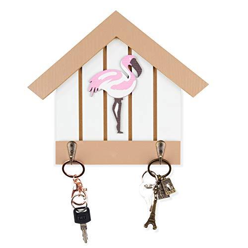 Schlüsselhalter für Wand - Flamingo Schlüsselhaken, Holz, 22,9 x 3,8 x 19,7 cm -