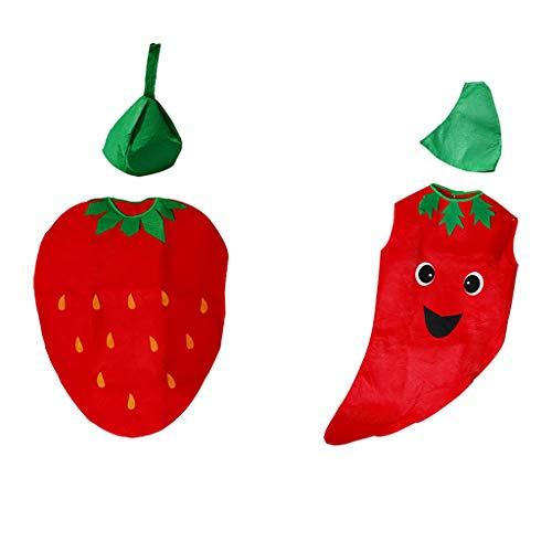 Fenteer Kinder Erdbeer / Chili Kostüm Verkleidung Jumpsuit mit Hut, Geschenk für Geburtstag Fasching und Halloween
