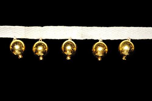 altotux 2,5cm Gold Orbs Kugeln rund Kreise Perlen Trim Weiß Ribbon von Yardage (Tüll-kreis Gold)