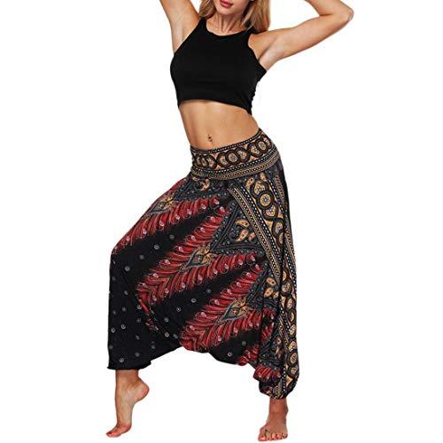 Boho Harem Pantaloni -Pantaloni larghi di yoga allentati estate delle donne pantaloni della tuta Aladdin dei Boho-yoga skinny workout athletic Pantalone -Plus Size Pantalone(nero,Taglia unica)