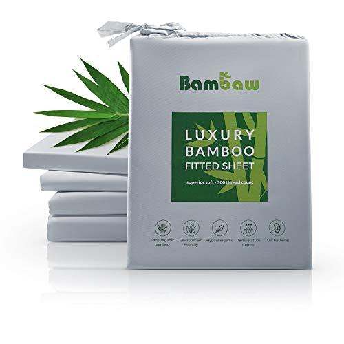 Bambaw Spannbettlaken aus Bambus | Spannbetttuch | Temperaturregulation | atmungsaktiver Stoff| Lyocell Bettdecke | Grau |160x200