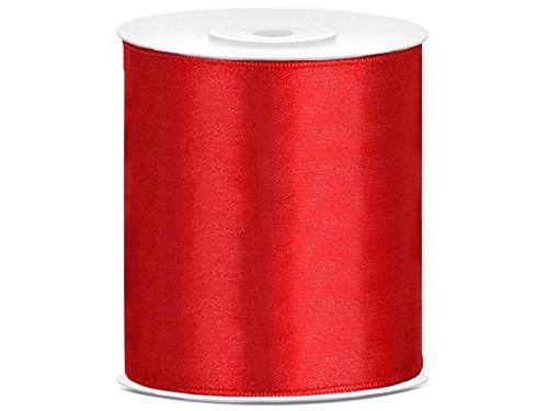 SiDeSo® Satinband 25m x 100mm viele Farben Hochzeit Dekoband Geschenkband Antennenband Schleifenband (rot)