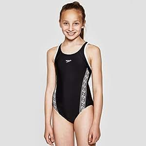 SPEEDO Monogram Muscleback Girl's Swimsuit, Black/White, 26in