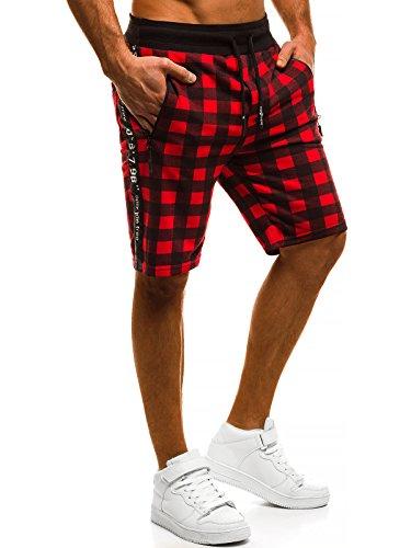 OZONEE MIX Herren Hose Shorts Kurzhose Sporthose Kariert Freizeitshorts Karierthose Bermudas MAD/2405 ROT XL