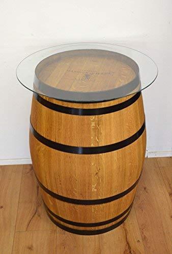 Temesso Dekofass, Stehtisch aus echtem Weinfass, Gartentisch mit Glas -Tischplatte D80cm - Fass in verschiedenen Variationen (Fass geschliffen + geölt mit schwarzen Ringen)