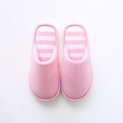 Hommes et Femmes Chaussons Chaussures d'hiver Anti-Derapant Pantoufles Chaud Tongs Chaussures Plat Pink2