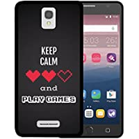 Funda Alcatel OneTouch Pop Star 4G LTE, WoowCase [ Alcatel OneTouch Pop Star 4G LTE ] Funda Silicona Gel Flexible Pixel - Keep Calm and Play Games, Carcasa Case TPU Silicona - Negro