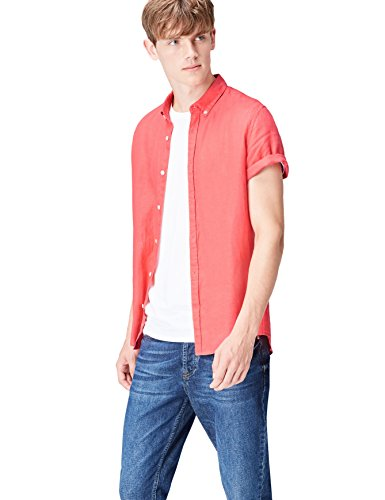 Find. short sleeve linen camicia, rosa (watermelon), large