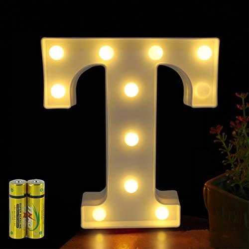 HONPHIER® Buchstaben Lichter Alphabet Lampe LED Brief Beleuchtung Buchstabe Licht Beleuchtete Buchstaben Nachtlichter Dekoration für Geburtstag Party Hochzeit Kinderzimmer (T)