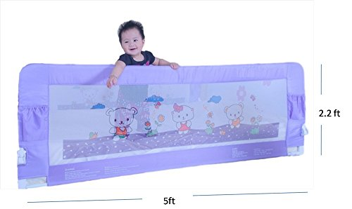 Kiddale-Bedrail-Long-5×22-ft-Foldable-Safety-Guard-to-Protect-Baby-Kids-Senior-citizen-from-side-falling-Baby-and-Kids-Products-Purple
