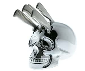Bloc Couteaux Scully Design Tête de Mort Chromée 5 Couteaux Inclus
