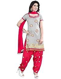 Jheenu Women's Grey Cotton anarkali Embroidered Unstitched Dress Material