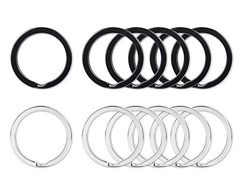 SCSpecial 20 Stück Schlüsselring Flach 1 Zoll Schluessel Ring Metall Schlüsselringe - Schwarz und Silber