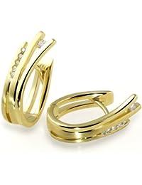 Goldmaid Damen-Creolen 585 Gelbgold 12 Diamanten 0,10ct Ohrringe Brillanten Schmuck