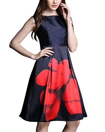 Abendkleid Damen Druckkleider Vintage 50S Rockabilly Kleid Cocktailkleid Als Bild