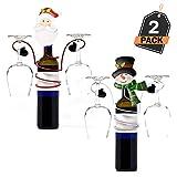 2 Portavasos Navideños- Soporte para para Copas de Vino - Accesorio de Decoración para la Casa u Oficina - Regalo, Articulo de Menaje para Cena o Fiesta de Celebración de Navidad