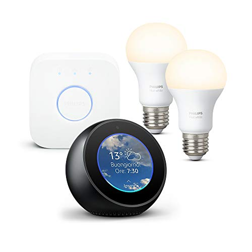 Amazon Echo Spot, Nero + Philips Hue White Starter Kit