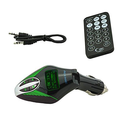 C.D.R. FM Transmitter KFZ Zigarettenanzünder MP3 Radio Freisprechanlage USB SD 3,5 mm in 3 Farben erhältlich (grün)