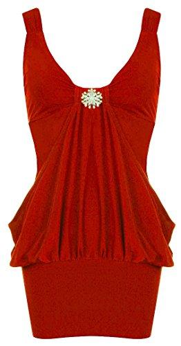 Fast Fashion - Broach Haut Sans Manche Plaine Diamant Dress - Femmes Rouge