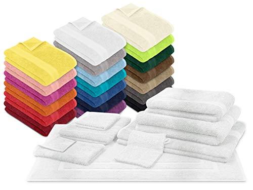 npluseins Packs zum Sparpreis - solide Frottiertücher - erhältlich in 20 modernen Farben und 8 verschiedenen Größen, 6er Pack Gästetücher (30 x 50 cm), weiß