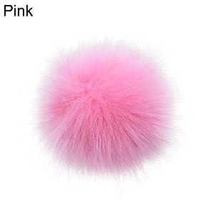 AchidistviQ 14 cm / 16 cm Weiches Kunstfellbommel DIY Auto Handtasche Schlüsselanhänger flauschig Ball Anhänger rosa 14 cm