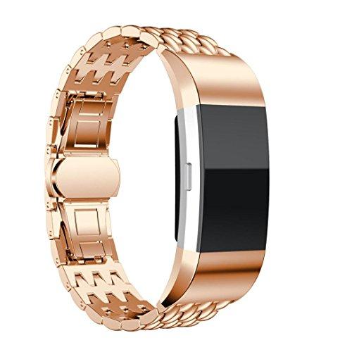 Preisvergleich Produktbild Fitbit Alta Strap Bands,  ihee echtem Smart Watch Band verstellbar Edelstahl Armband für Fitbit Laden 2 M rose gold