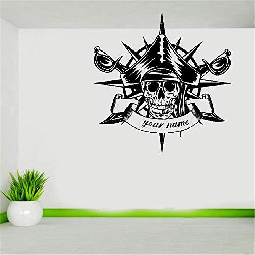 Wandtattoo Wohnzimmer Crâne Halloween Boussole Épées Pirate Autocollant Punk Décalque Diable Affiche Nom De Voiture Fenêtre Décor