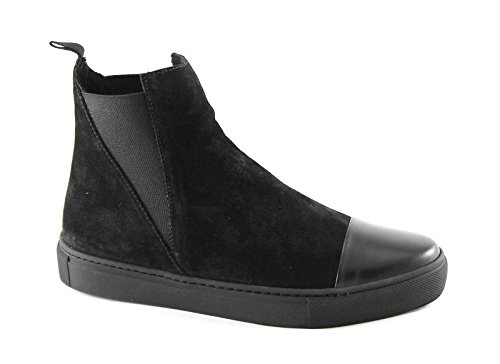 FRAU 39B2 nero scarpe donna stivaletti beatles camoscio elastici 39