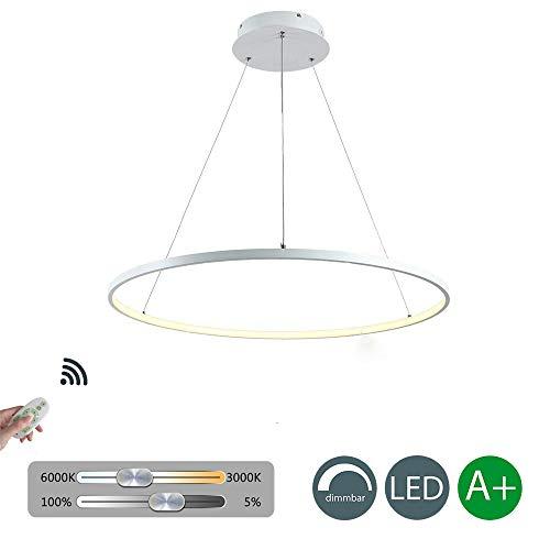 Pendelleuchte LED Dimmbar Esszimmer Modern Runde Lampe Design 1 Ring Hängeleuchte Kronleuchter Dekoration Beleuchtung Leuchte Wohnzimmer Esstisch Hängelampe Weiß 25W Ø 80cm Höhenverstellbar