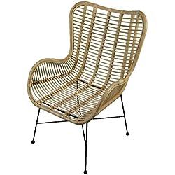Fauteuil en rotin Design Animal, Chaise tressée Confortable avec accoudoir, Salle à Manger, Cuisine, Balcon, terrasse