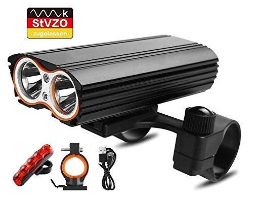 LED Fahrradlicht Set, StVZO Zugelassen 2400 Lumen IP65 Wasserdich Fahrradbeleuchtung, USB Aufladbare Fahrradlichter Superhelle Frontlicht 360°Rotation, 4400mAh 3 Licht-Modi Fahrradlampe