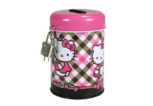 Hello Kitty Spardose Metall Sparbüchse Sparschwein Porzellan 11cm mit Schloß -