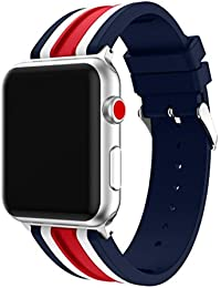 Magiyard Para Apple Watch Series 3 42mm/38mm, Correa de deportes de reemplazo de silicona (42mm, rojo)