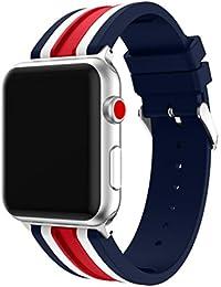 Magiyard Para Apple Watch Series 3 42mm/38mm, Correa de deportes de reemplazo de silicona (38mm, rojo)