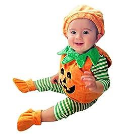 Vestito Completo Bambino Ragazze Costume, 3Pcs: Pagliaccetto + Cappello + Scarpe a Halloween Zucca Stampato, Idee Regalo…