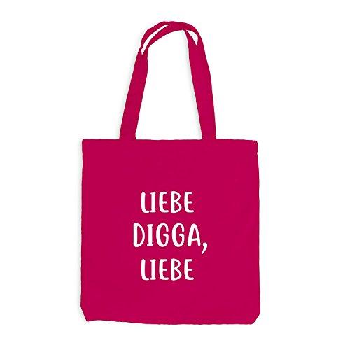 Jutebeutel - Love Digga, Love - Love Hamburg Style Gift Fun Pink