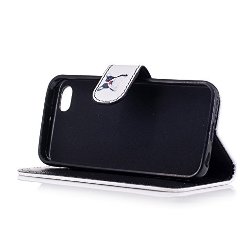 Custodia iphone 5C Cover ,COZY HUT Flip Caso in Pelle Premium Portafoglio Custodia per iphone 5C, Retro Animali di cartone animato Modello Design Con Cinturino da Polso Magnetico Snap-on Book style In Cane da pagliaccio