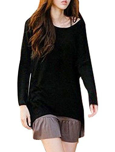 Femme Decolleté Manche Chauve-souris Décontracté T-shirt En Vrac Blouses Noir - Noir