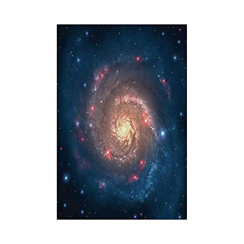 Liumiang Eco-Friendly Manual Custom Garden Flag Demonstration Flag Game Flag,Outer Space,Mystical Spiral Galaxy Expanse Beyond Milky Way Planet Astral Space Art,Petrol Blue Peach décor