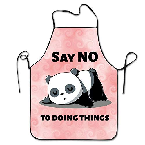 HTETRERW Cute Panda Say NO to Doing Things Cooking Apron Kitchen Apron for Women Men Chef, Lock Edge Waterproof Durable String Adjustable Easy Care Aprons (Panda Pfoten Kostüm)