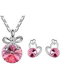 Caiyan Conjuntos de joyas para las mujeres Cristal Oreja Clavo Collar , roses red