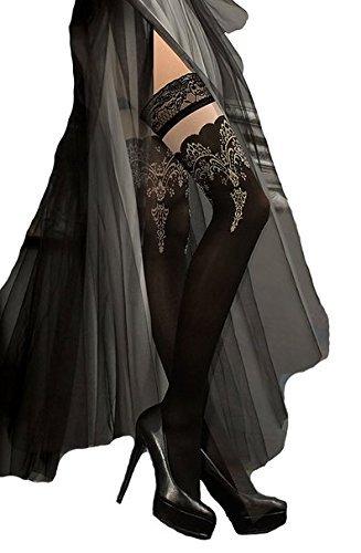Schöne schwarze Halb durchsichtig halterlose Strümpfe mit gestickten Tops von 220 Ballerina, Schwarz, Large/X-Large (Spitze-top Schwarz-breite -)