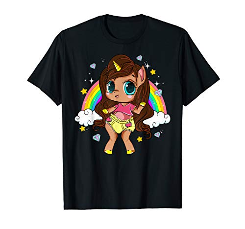 Black Girl Magic Unicorn Long Hair Brown Skin Cute Girls T-Shirt