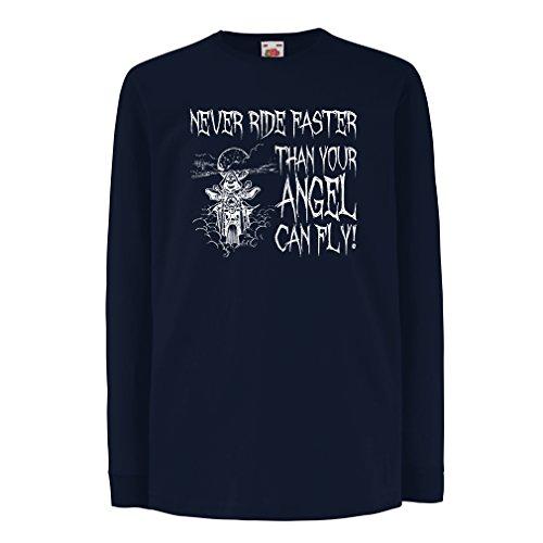 N4694D Kinder-T-Shirt mit langen Ärmeln Motorrad-Angebote (12-13 years Blau Mehrfarben)
