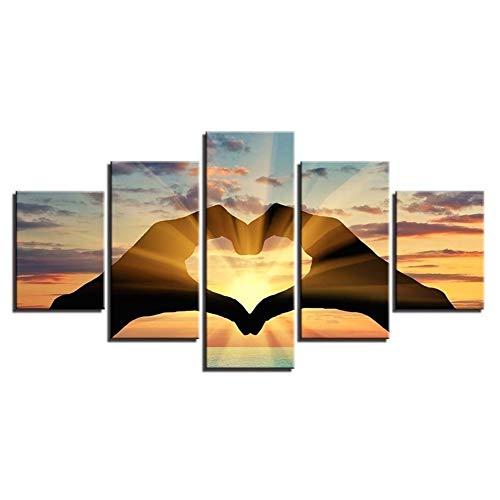 Mndeco stampa su tela gesto cuore amore immagine di arte della parete 5 pezzi quadri moderni dipinti foto per soggiorno camera da letto divano tv sfondo home gym decor